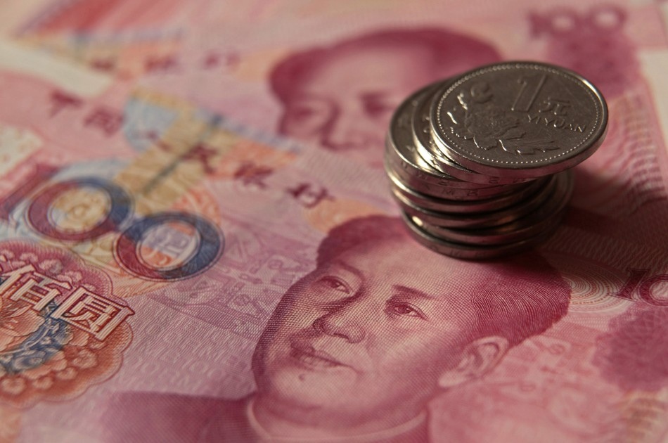 Chinese one yuan coins and 100 yuan banknotes