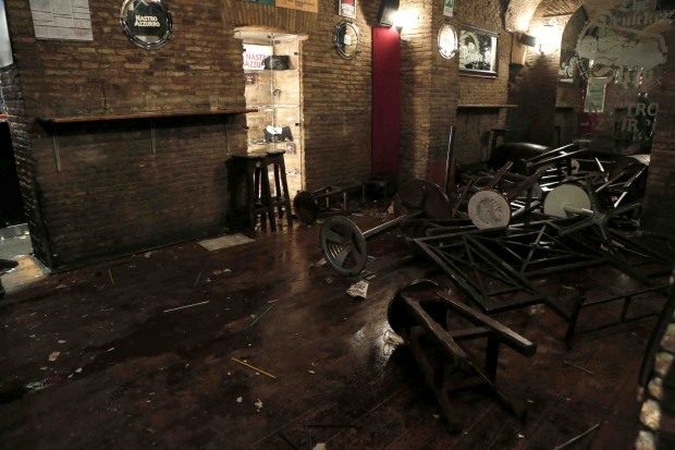 Drunken Ship pub, Rome, where Tottenham supporters were attacked by group of Lazio fans last night