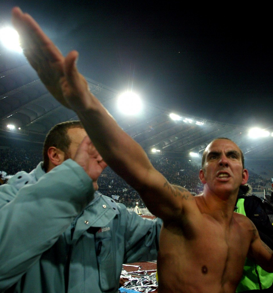 Di Canio raises his arm in an apparent fascists salute when playing for Lazio in 2005.