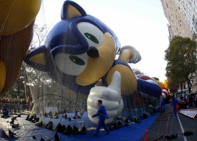 Balloon in the shape of Sonic the Hedgehog gets inflated with helium ahead of the Macys Thanksgiving Parade in New York