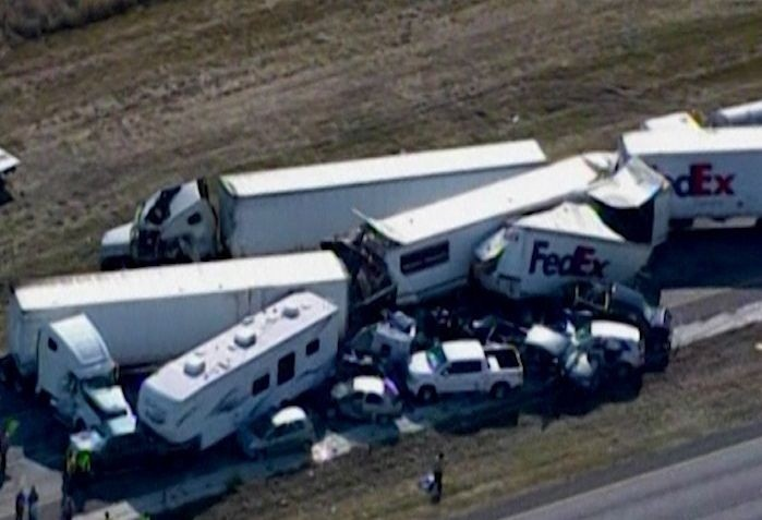 The pile-up happened on Interstate 10 about 80 miles east of Houston on Thanksgiving (Reuters)