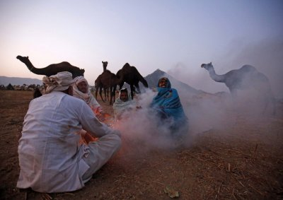 Camel herders sit around a bonfire to warm themselves as they wait for customers at Pushkar Fair in Rajasthan