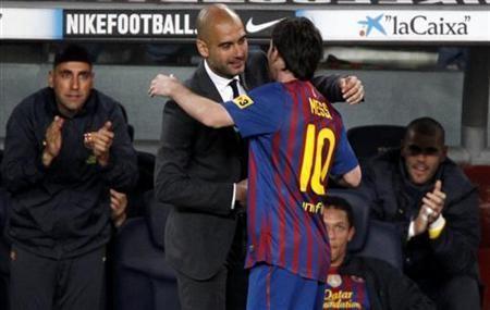 Pepe Guardiola and Lionel Messi