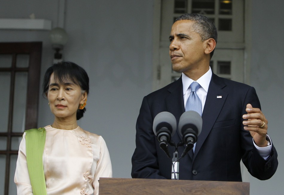 U.S. President Obama talks to reporters during news conference after meeting Myanmar's Opposition Leader Suu Kyi