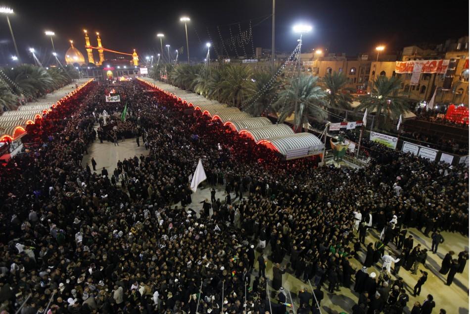 Shiite pilgrims gather at the Imam Abbas shrine