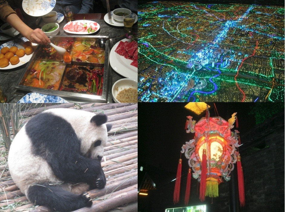 Chengdu, China Culture: (L-R) Chengdu hotpot in Jin Li Street, 3D map of Chengdu at Chendu Central Planning Exhibition, Panda from Chengdu Panda Base and a lantern from Kuan Zhai Xiang Zi (Photos: Lianna Brinded)