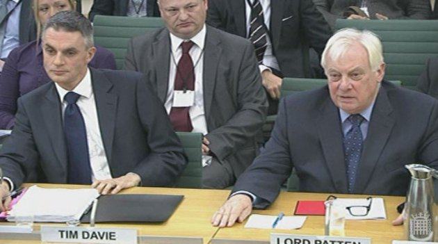 Lord Patten (r)appearing alongside acting BBc director general Tim Davie