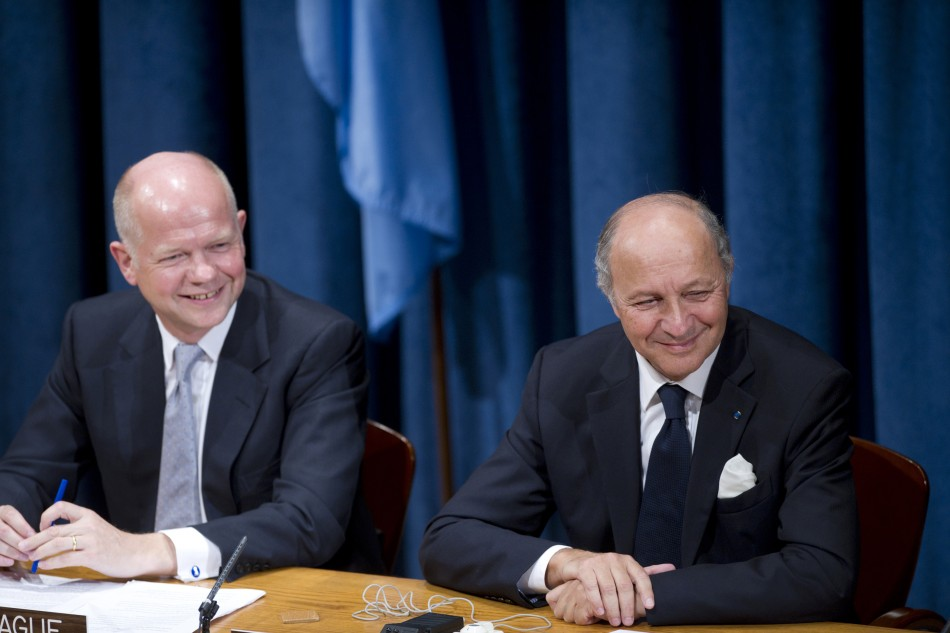 ritish Foreign Secretary Hague and French Foreign Minister Fabius