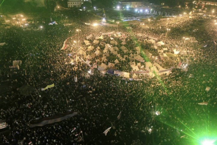 A general view of anti-Mursi protesters gathering at Tahrir Square in Cairo