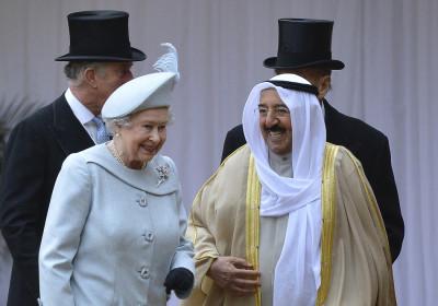 Queen Elizabeth and emir of Kuwait, Sheikh Sabah al-Ahmad al-Sabah, Windsor Castle in Windsor