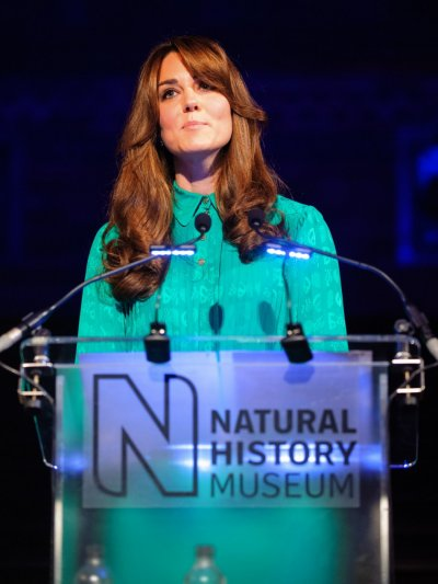 Duchess of Cambridge speaks during a visit to the Natural History Museum where she officially opened the new Treasures Gallery, in central London