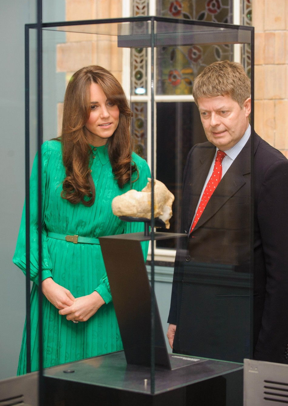 Duchess of Cambridge and the Director of the Natural History Museum Michael Dixon view an exhibit at the Natural History Museum, in central London