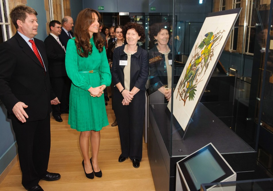 Duchess of Cambridge views a plate from Audubons Birds of America during a visit to the Natural History Museum in central London