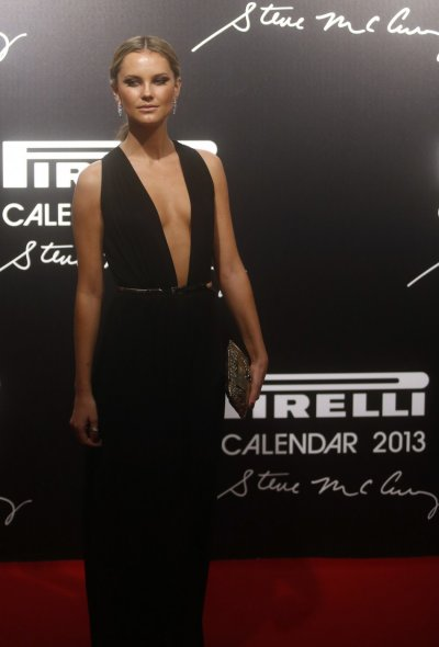 Model Kyleigh Kuhn poses as she arrives for the launch of the Pirelli Calendar 2013 in Rio de Janeiro