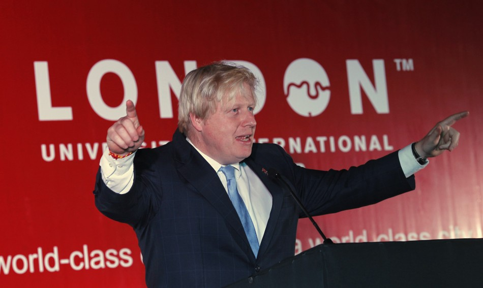 London Mayor Boris Johnson speaks at a higher education reception in New Delhi