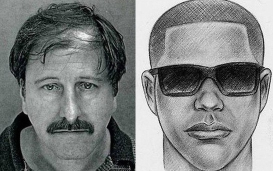 Salvatore Perrone (L) with the police's original sketch of the suspect (NYPD)
