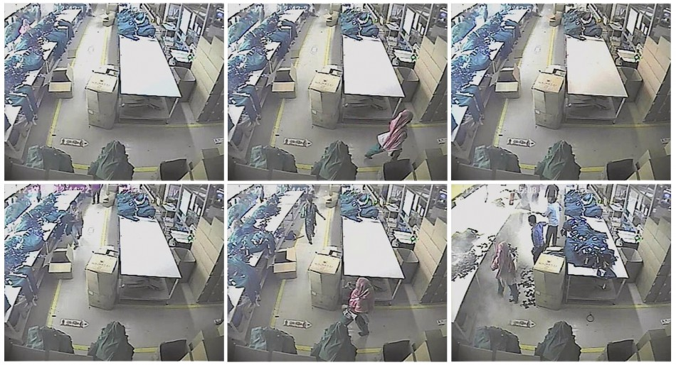 Combo picture made of still images taken from video shows a woman suspected of trying to set fire to stockpiles of cotton at a garment factory in the Ashulia area of Dhaka