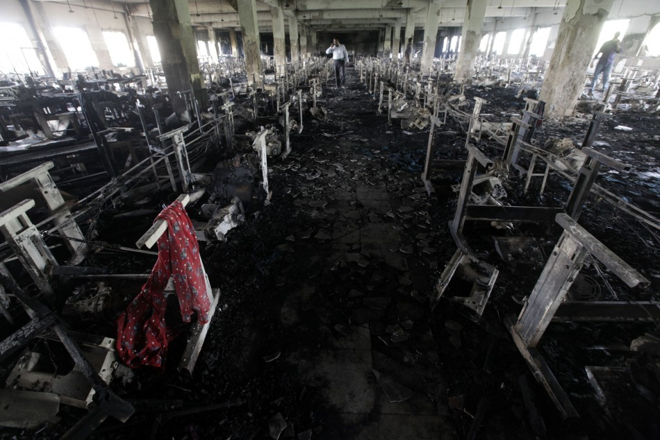Scarf of a garment worker is seen in the burnt interior of garment factory Tazreen Fashions
