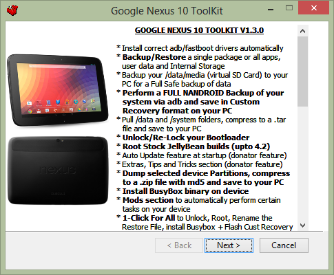 Download and Install Nexus 10 All-In-One Toolkit (Root, Unlock, Unbrick, Unroot, Relock, Backup and Restore)