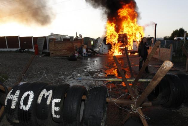 Caravan ablaze: Not a holiday camp