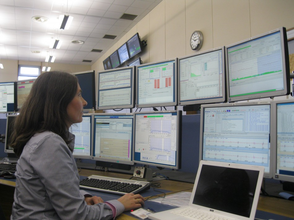 Barbara Holzer in the LHC Control Centre (Photo: Lianna Brinded)