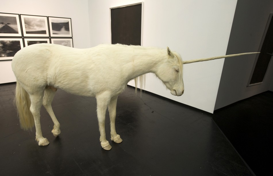 The sculpture 'another winter' by artist Aleksandar Duravcevic depicts an unicorn at the Art Cologne fair in Cologne