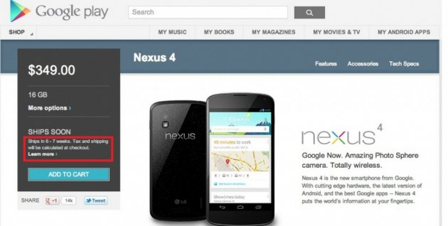 New Google Play Orders for Nexus 4 Delayed Further, Check Availability with Nexus Checker App