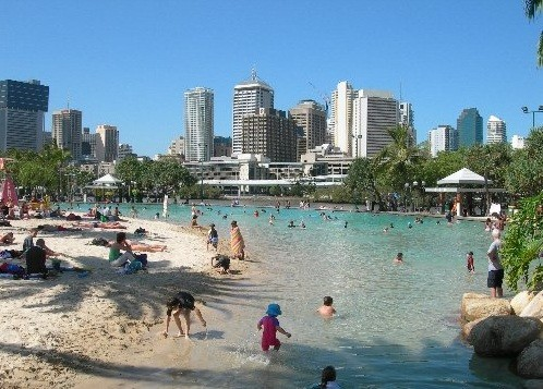 Artificial beach on South Bank in Brisbane