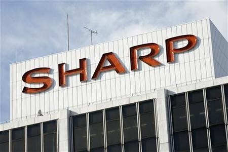 The Sharp Corp logo is seen at the company's showroom in Tokyo