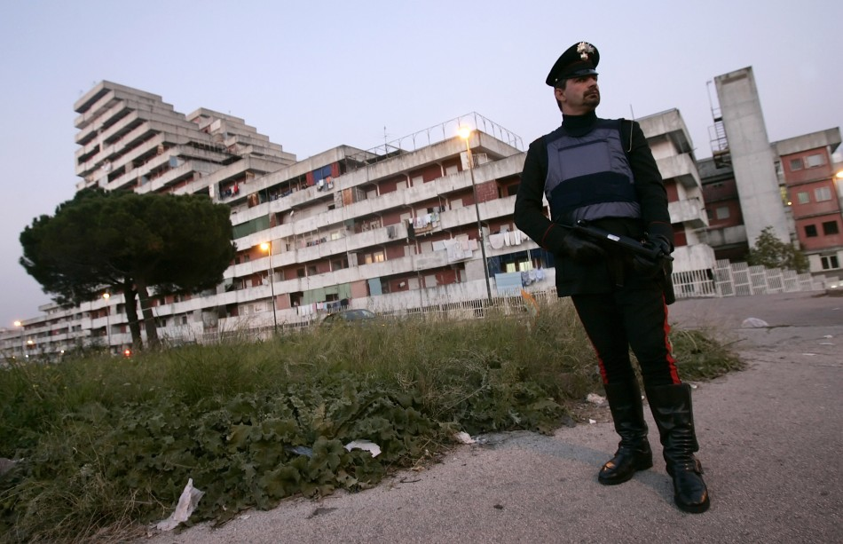 Italian Carabinieri patrol the Scampia district in the southern city of Naples