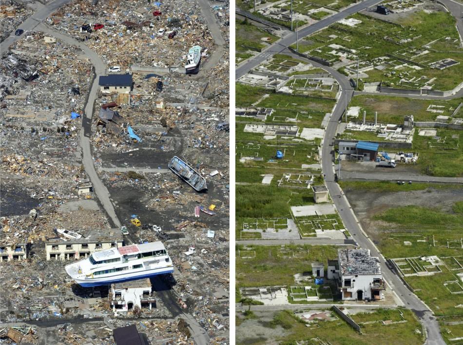 A combination photo shows a tsunami-devastated area in Otsuchi, Iwate prefecture