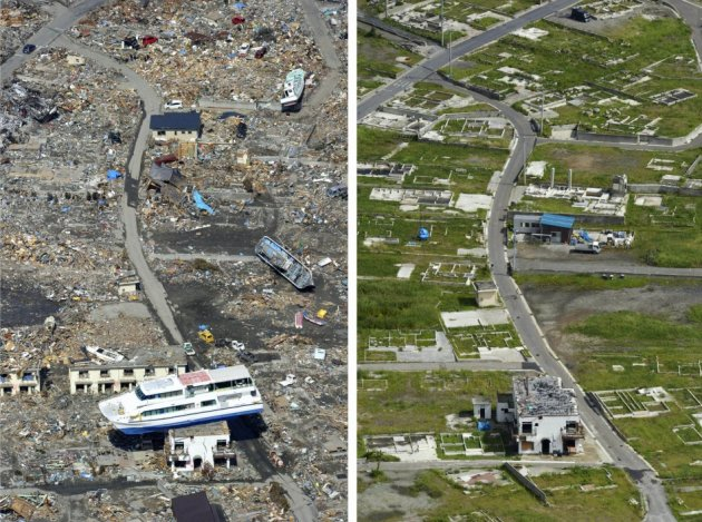 A combination photo shows a tsunami-devastated area in Otsuchi, Iwate prefecture