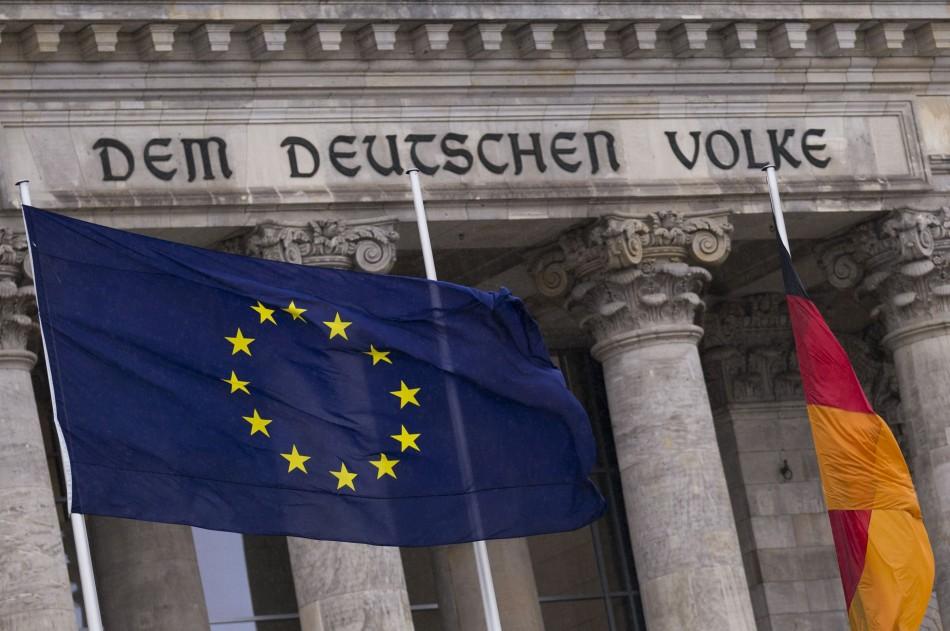 EU flag and German national flag