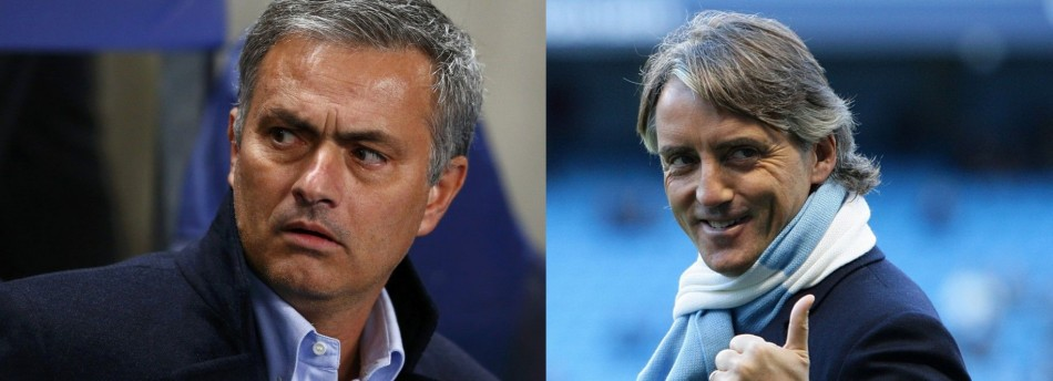 Jose Mourinho (L) and Roberto Mancini