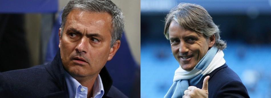 Jose Mourinho (L) and Roberto Mancini