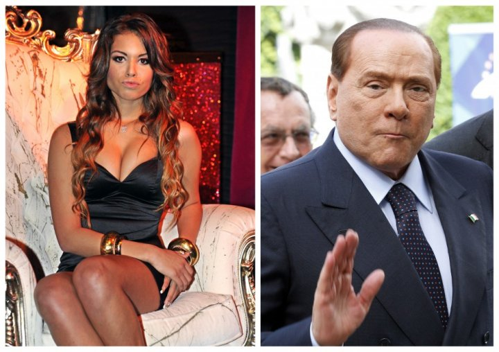 A combo shows file photos of Karima El Mahroug of Morocco posing in Milan, and Italy's former Prime Minister