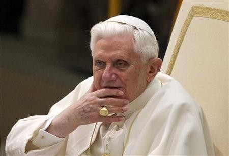 Pope Benedict XVI looks on during his weekly Wednesday general audience in Paul VI hall at the Vatican