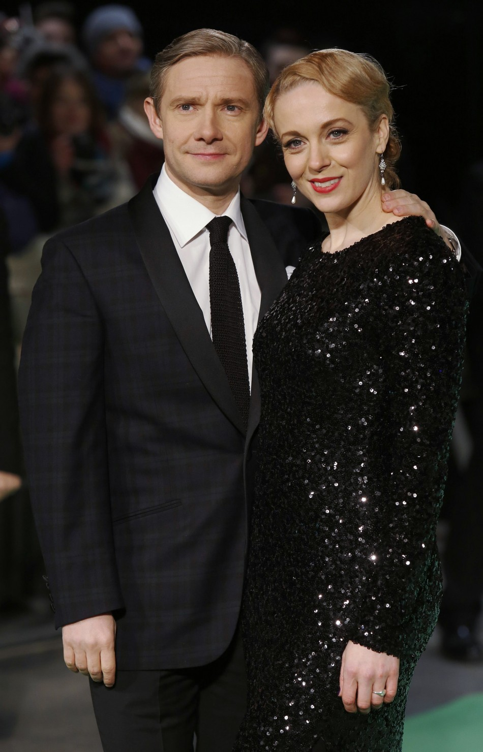Actor Martin Freeman and his partner Amanda Abbington arrive for the royal premiere of the film The Hobbit - An Unexpected Journey in central London