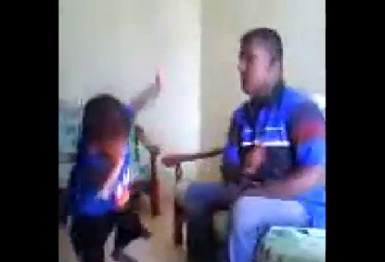 Man beating toddler