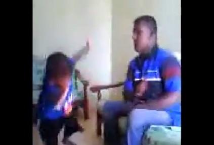 Man beating toddler