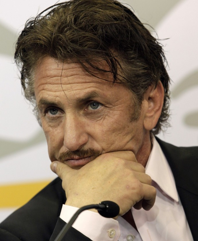 Sean Penn during a news conference after a meeting with Uruguay's President Mujica at the presidential house in Montevideo