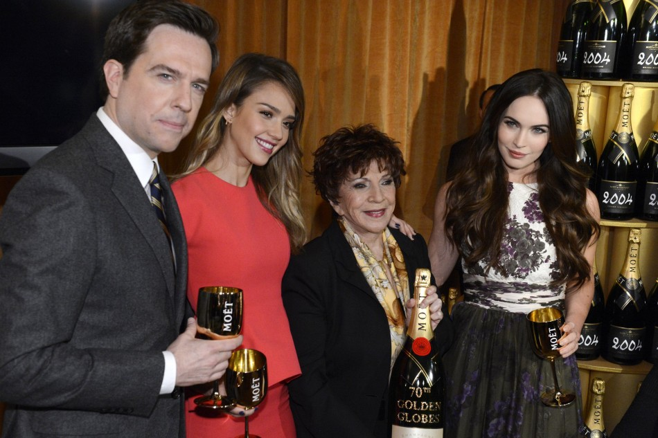 Actor Helms, actresses Alba and Fox and Hollywood Foreign Press Association President Takla-OReilly pose for photographers at the announcement of nominations for the 70th annual Golden Globe Awards in Beverly Hills