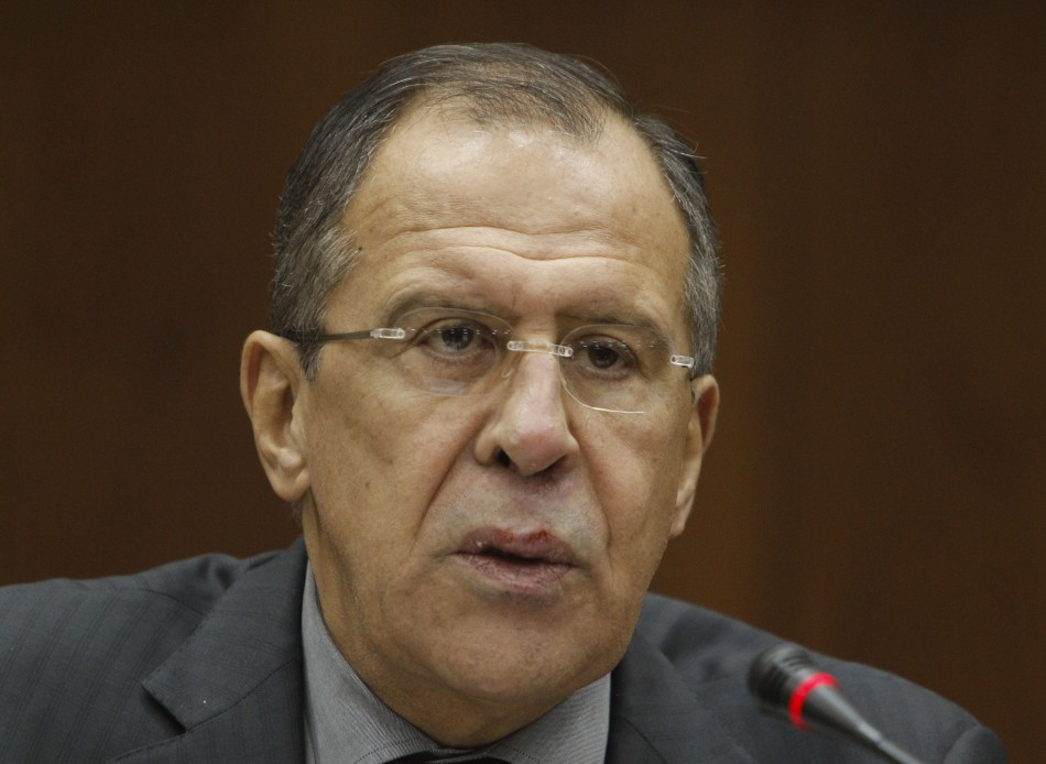 Russian Foreign Minister Lavrov speaks during a meeting of President Putin's trustees in Moscow