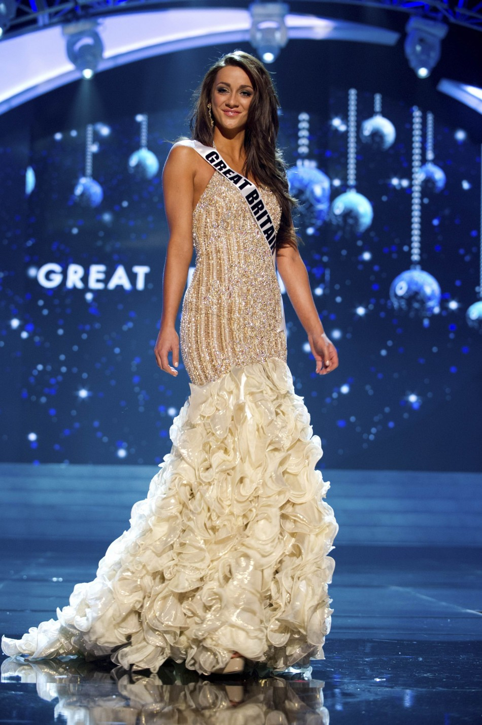 Miss Great Britain 2012 Hale competes in an evening gown of her choice during the Evening Gown Competition of the 2012 Miss Universe Presentation Show in Las Vegas