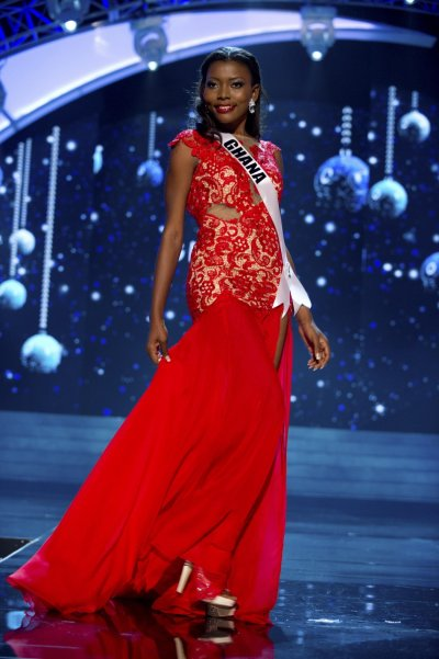 Miss Ghana 2012 Ofori competes in an evening gown of her choice during the Evening Gown Competition of the 2012 Miss Universe Presentation Show in Las Vegas