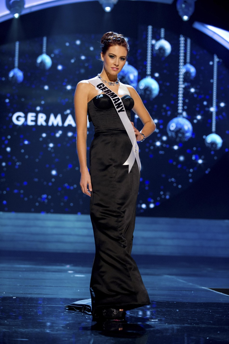 Miss Germany 2012 Endemann competes in an evening gown of her choice during the Evening Gown Competition of the 2012 Miss Universe Presentation Show in Las Vegas