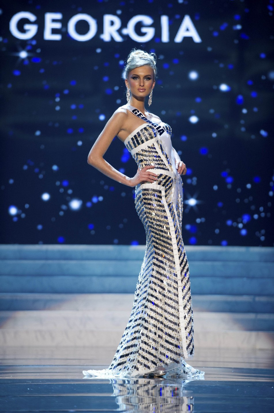 Miss Georgia 2012 Shedania competes in an evening gown of her choice during the Evening Gown Competition of the 2012 Miss Universe Presentation Show in Las Vegas