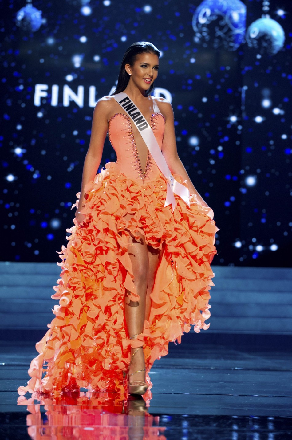 Miss Finland 2012 Chafak competes in an evening gown of her choice during the Evening Gown Competition of the 2012 Miss Universe Presentation Show in Las Vegas