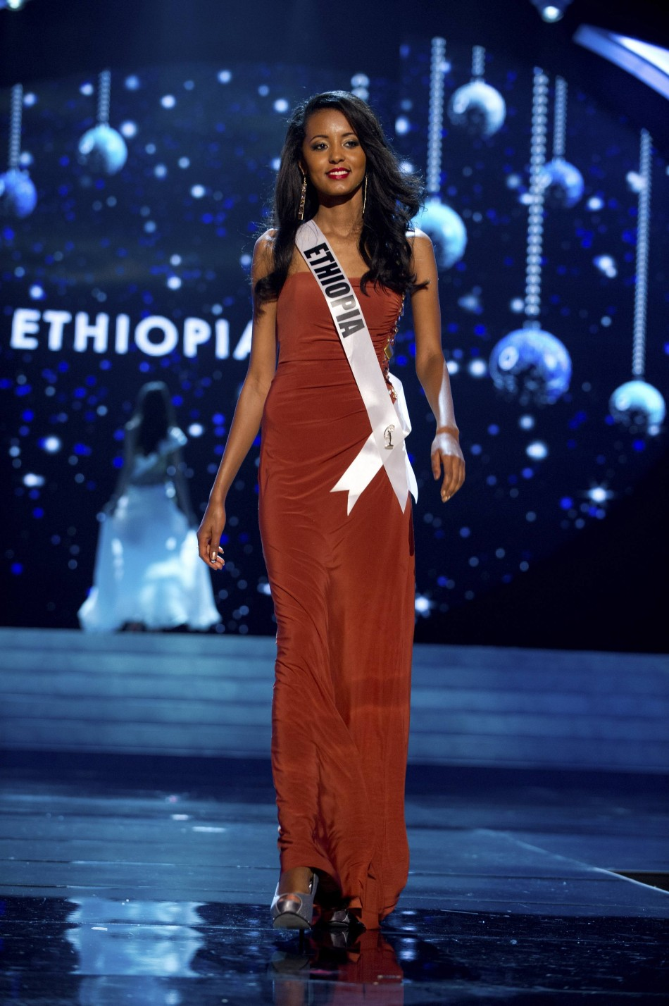 Miss Ethiopia 2012 Getachew competes in an evening gown of her choice during the Evening Gown Competition of the 2012 Miss Universe Presentation Show in Las Vegas
