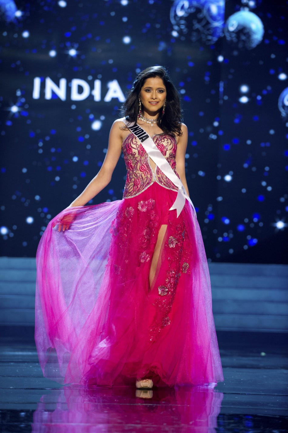 Miss India 2012 Singh competes in an evening gown of her choice during the Evening Gown Competition of the 2012 Miss Universe Presentation Show in Las Vega